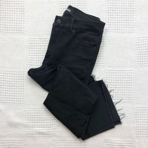 EXPRESS Black Cropped Flare High Rise Jeans Size 8